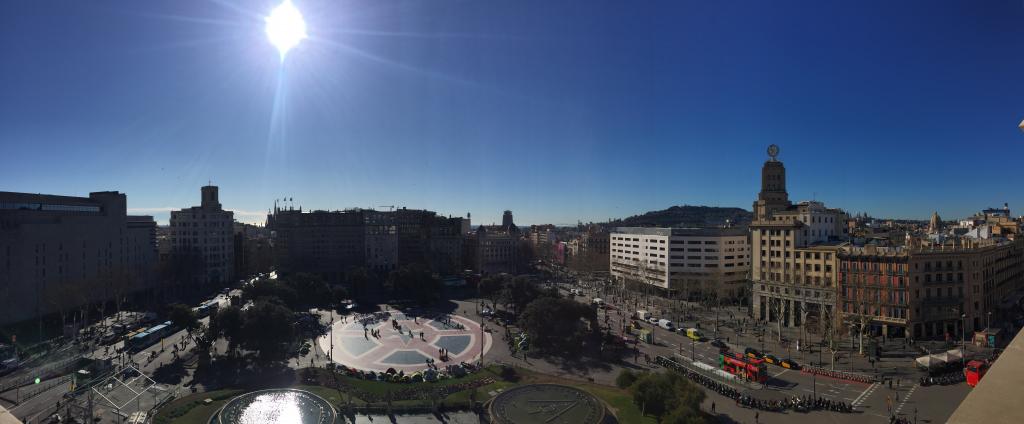 <em>View of Plaça Catalunya from the roof top of the Iberostar Paseo de Gràcia</em>